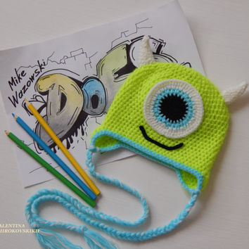 Crochet Mike Wazowski. Animal hats .Newborn Photo Prop. Crochet Hats. Monsters hats. Mike Wazowski hat . Beanie for newborn. Disney beanie