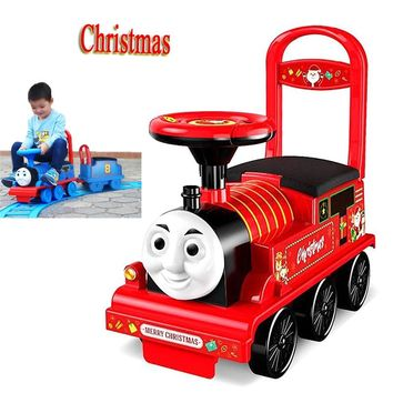 Thomas Electric Train Child Baby Walker Stroller Boys Toy Ride on Train with Railway Electric Ride on Car for Kids Flash Music