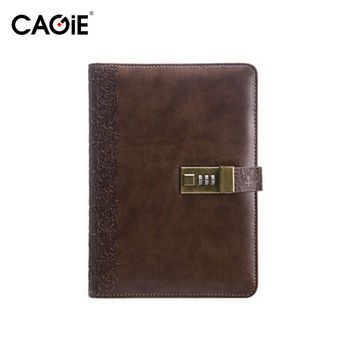 CAGIE 2017 Planner Vintage Notebook A5 Personal Diary With Lock Notebooks Leather Organizer Travel Journal Agenda