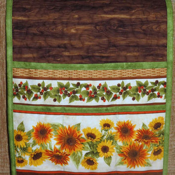 Quilted Armchair Caddy, Bedside Caddy, Remote holder, Sunflowers