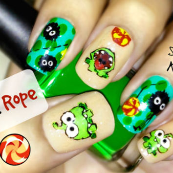 Cut the Rope Nail Art. Handmade False Nails, Fake Nails, Press On Nails, Micropainting On Nails