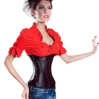 Muka Black PU Leather Victorian Corset Bustier Waist Cincher Halloween Costume