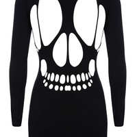 Black Cut Out Skull Back Bodycon Dress