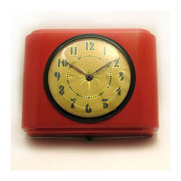 Art Deco Wall Clock - Retro Kitchen Wall Clock - Old Admiral Wall Clock - Red Retro Clock - Gibraltar Mfg Co NJ - Electric Wall Clock