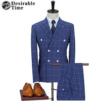Men Slim Fit Royal Blue Wedding Suit Stage Wear Clothing Fashion Men Double Breasted Plaid Suits