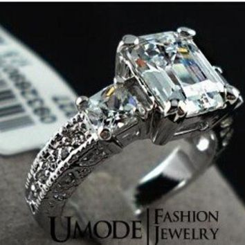 CREYUG3 The white gold Plated Rectangle Emerald Cut CZ Zircon Engagement Rings = 1931906500