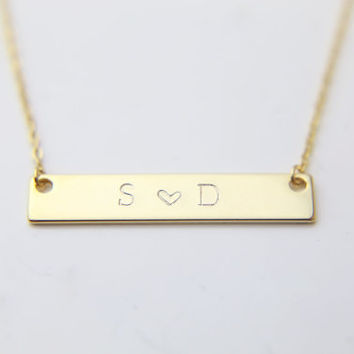 Couples Necklace / Personalized Initial Necklace / Lovers Necklace
