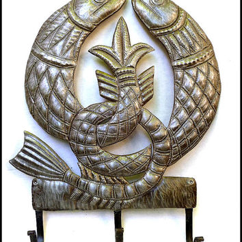 Irish Symbol Fish Wall Hook - Fish Metal Towel Hook - Haitian Recycled Steel Drum Metal Wall Decor - Handcrafted Metal Art of Haiti - 455-HK