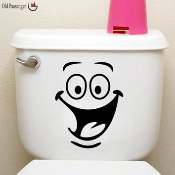 Old Passenger _ Smiley Face Toilet sticker Wall Mural Art Decor Funny Bathroom Wall Sticker Toilet Entrance Sign Decal Viny