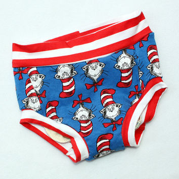 Cat In the Hat Baby Toddler Infant's Handmade Underwear Undies In stock Size 12 mos - 2T Only