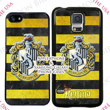 Personalized Harry Potter Hufflepuff Crest Case Case For Apple iPhone 4, 4s, 5, 5s, 5c, 6, 6+ Touch 5. Black, White or Clear Phone Case