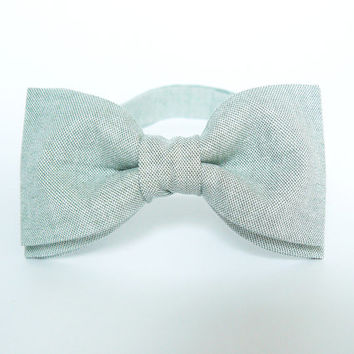 Mens bow tie by Bartek Design - groom wedding classic retro necktie chic handmade gift for him pre tied - linen soft green