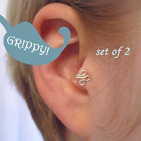 The Fleur Set of 2 Tragus Cuffs GRIPPY Silver Ear Cuffs Set of Two fleur de lis loop swirl curly earring alternative