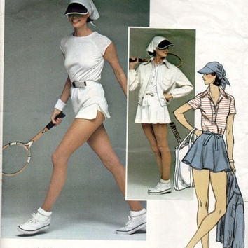 Vogue 1414 Sewing Pattern Retro 70s Tennis Athletic Outfit Micro Mini Skirt Shorts T-shirt Jacket Visor Hat Uncut Bust 34 Sports Anne Klein