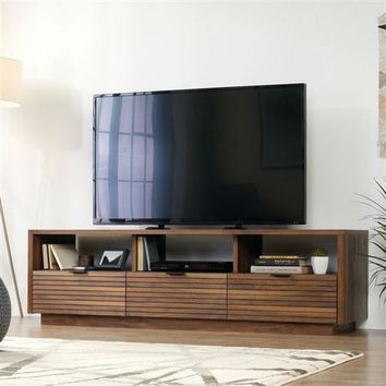 Modern Walnut Finish TV Stand Entertainment Center - Fits up to 70-inch TV