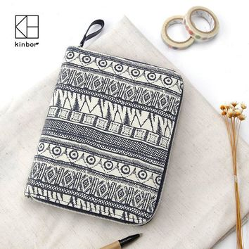 Kinbor A6 Notebook Vintage Blue Canvas Cover Zipper Wallet Card Holder Journal Note Book Planner Diary Organizer Gifts