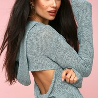 In the Clouds Light Blue Backless Hooded Sweater