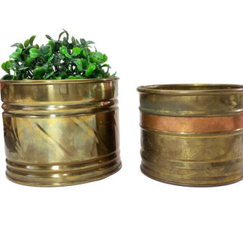 Brass Planter Flower Pots, Vintage Small Brass Decorative Succulent Plant Containers, Bohemian Home Garden Decor, Retro Metal Indoor Planter