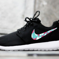 Womens Custom Nike Roshe Run sneakers,Teal, Pink, White, Aztec, tribal design, cute and trendy Fashionable design,