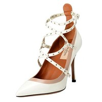 Valentino Garavani Women's Leather Two Tones Ankle Strap High Heels Shoes