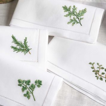 Broderie Herbs Hemtitch Napkins | Set of 4
