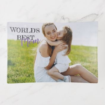 World's best mom change text photo trinket tray