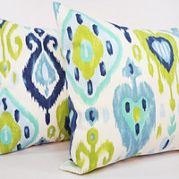 Two Ikat Throw Pillow Covers - Blue Green Ikat Throw Pillows - 18 x 18 inches Throw Pillow Cushion Cover - Ikat Pillow Cover