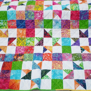Large Lap Quilt-Batik Scrap Quilt-TV quilt-Twin coverlet-Star throw blanket-Futon cover-Toddler quilt-Batik Shooting Stars