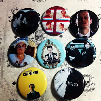 Sherlock Holmes and Moriarty 8 Pinback Button Set with Free Bonus Mystery Pins Benedict Cumberbatch