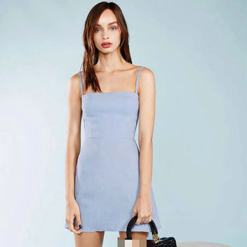 Cotton Linen Spaghetti Strap Sleeveless Vest Dress One Piece Dress [6158982980]