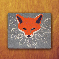 Fox Painting Cartoon Mouse Pad Cute Animal Vector Wood but not real wood MousePad Office Pad Work Accessory Personalized Custom Gift