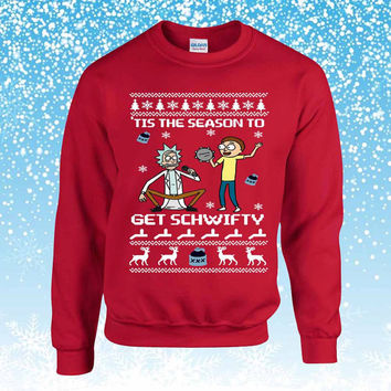 Rick and Morty Get Schwifty Ugly Christmas Sweater sweatshirt unisex adults