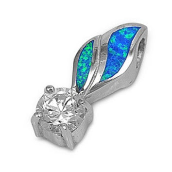 """Sterling Silver Lab Blue Opal Feather Round Clear CZ Pendant 22MM (Free 18"""" Chain)"""