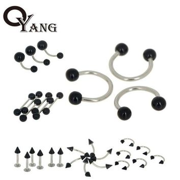 ac DCCKO2Q OYang Fashion 30pcs/Lot Black Acrylic Body Piercing Jewelry Belly Nose Rings Ear Tongue Barbell Lip Labret Eyebrow Ring 4