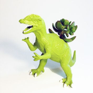 Up-cycled Lime Green Dinosaur Planter