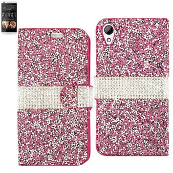 BLING Diamond Flip Case HTC Desire 626 PINK