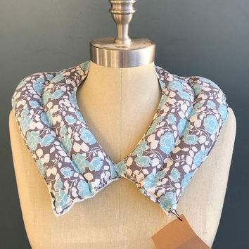 Blue and Gray Floral Pattern Neck Wrap Flax Heat Wrap -- Lightly Scented-- Lavender