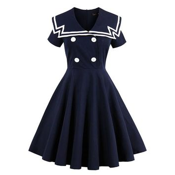 Women vintage dress  nautical style summer retro dark blue dress cotton sailor