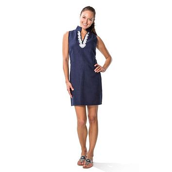 Shift Dress with Lace Shell in Navy by Sail to Sable - FINAL SALE