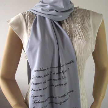 PAUL VERLAIN Quote Scarf Jersey Scarf - Ariettes Oubliées - Hand Printed Literary Scarf Text Scarf Book Lovers Scarf