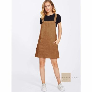 Patched Suede Overall Dress