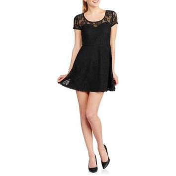No Boundaries Juniors Lace Skater Dress - Walmart.com