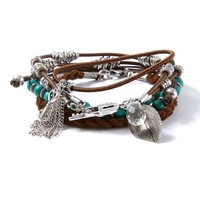 Wood Bead, Metal Rings and Cord Bracelets Set of 4    Icing