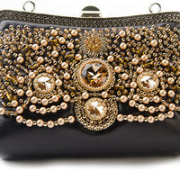 Handbag Evening handbag gold and black Swarovski crystals and pearls Hand embroidery