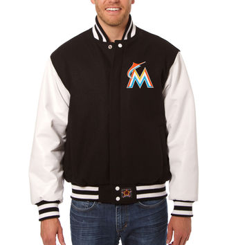 Miami Marlins Wool And Leather Varsity Jacket