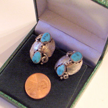Vintage Navajo Hopi Turquoise Earrings - Sterling Silver -  Beautiful Blue Gem Turquoise - Signed