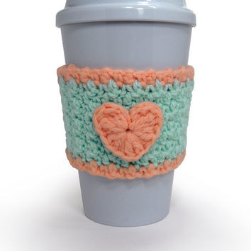 Crochet Heart Cozy in Pastel Green and Peach