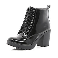 River Island Womens Black patent lace up block heel ankle boots