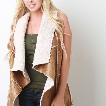Leather Shearling Splayed Collar Vest