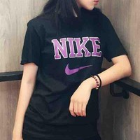 Nike Hot Letters Print Shirt Top Tee